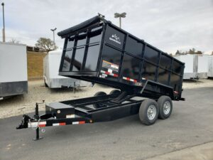 Snake River 7x14 Dump 4ft - Driver side front 3/4 view dump bed up