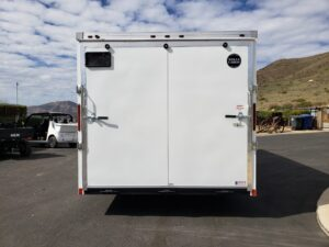 Looking at rear of trailer door closed to illustrate size