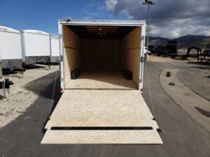 Wells Cargo 8.5x20 FastTrac 7K Looking into interior from outside rear door