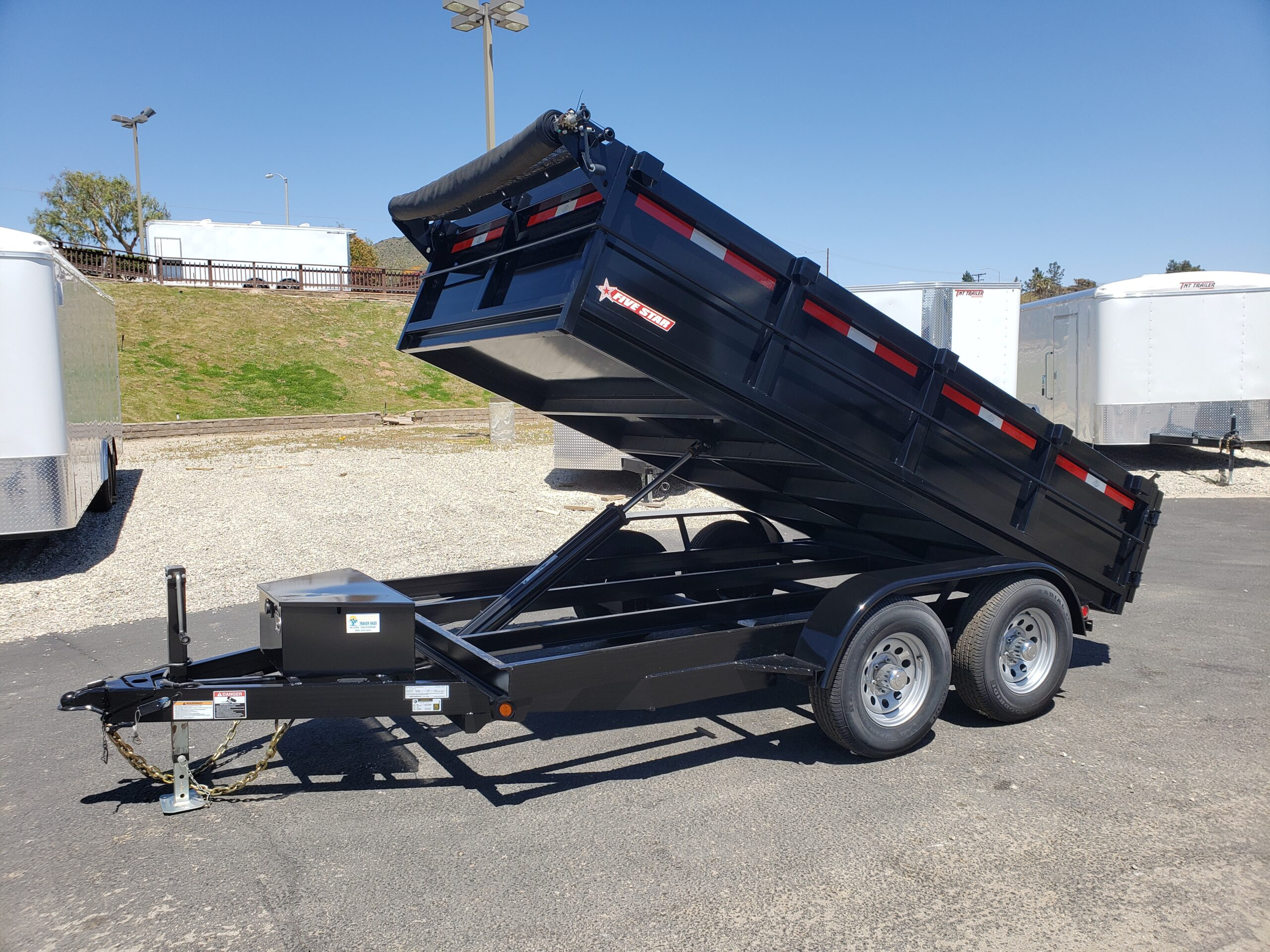 Five Star 6.5x12 10k Dump2ft - Driver side front 3/4 view bed up