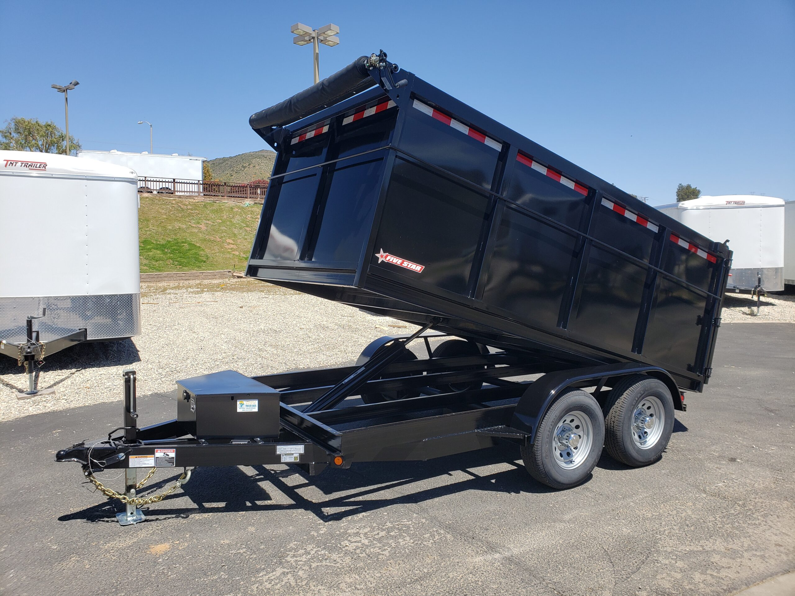 Five Star 6.5x12 10k Dump4ft - Driver side front 3/4 view bed up
