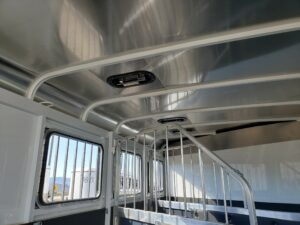 Maverick 3-H Deluxe D/D - Closeup of windows, dividers & vents in stall area