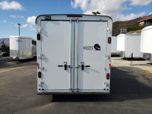 Looking at rear of trailer with doors closed