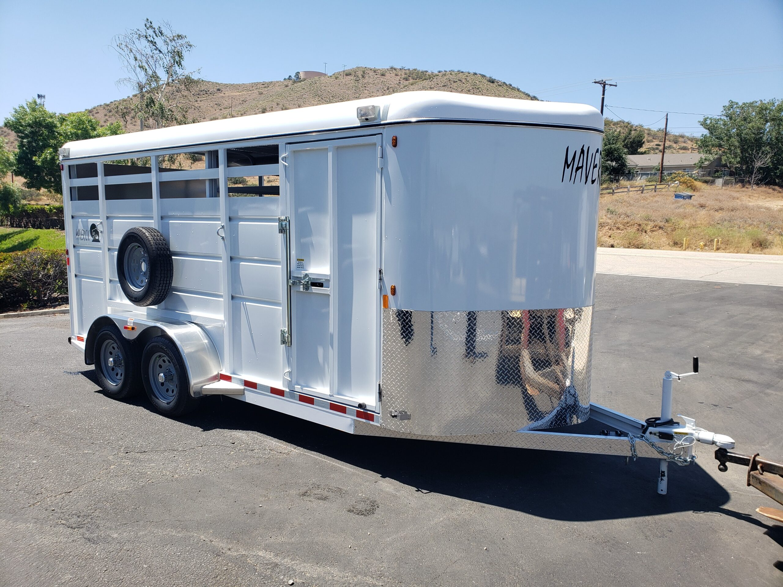 Maverick 17ft Stock Trailer - Passenger side front 3/4 view