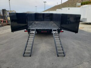 Snake River 7x14 Dump 3ft - Rear view ramps deployed