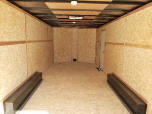 Wells Cargo 8.5x20 FastTrac 7K Looking into interior from rear ramp door