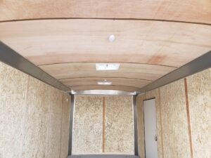 Looking from rear at interior ceiling lining