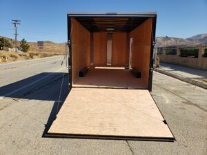 TNT 8.5x18 V-Nose 10K - Looking into rear of trailer through ramp door