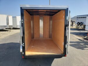 TNT/Mirage 5x8 V-Nose SRD - Looking into rear of trailer