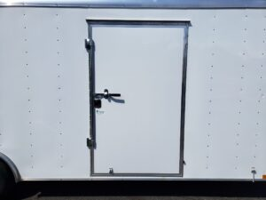 Wells Cargo 8.5x24 RF10K - Looking at side door closed illustrating size