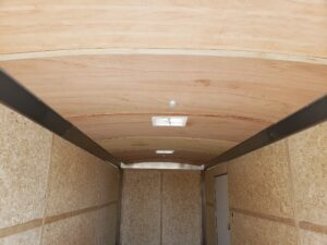 Wells Cargo 8.5x24 RF10K - Looking at lined ceiling from rear door