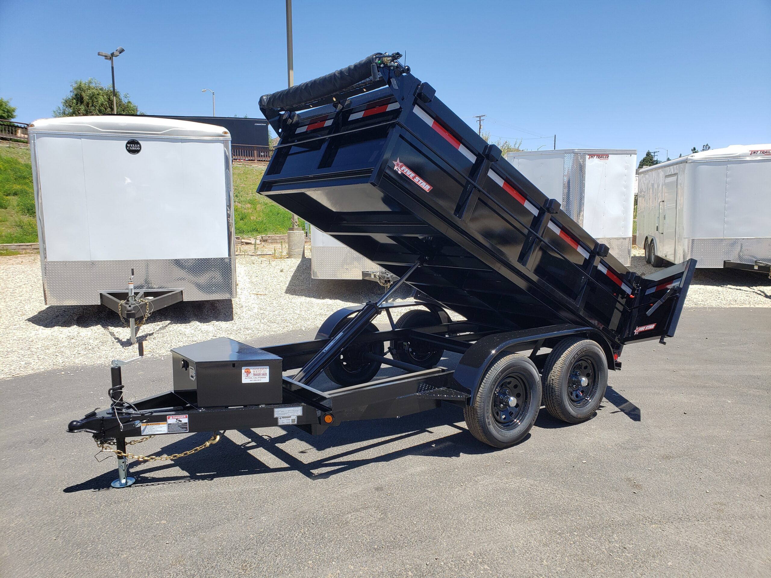 Five Star 5x10 7K Dump2ft - Driver side front 3/4 view dump bed up