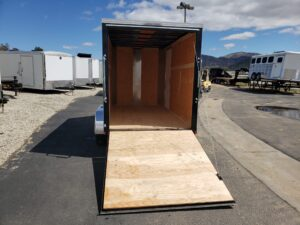 TNT 6x12 V-Nose 7K Ramp - Looking into cargo area from rear ramp door