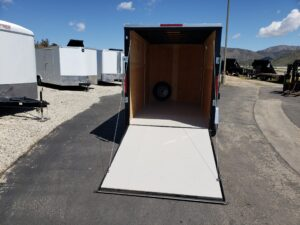 Big10 6X12 V-Nose Ramp - Looking into rear cargo area and ramp
