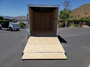 Wells Cargo 7x14 V-Nose UTV - Looking into rear cargo area from outside