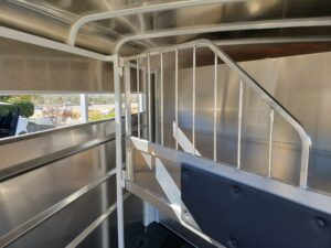 Maverick 13' 2-Horse H/S - Closeup of stall area w/padded divider