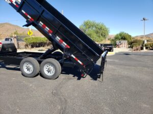 Snake River 7x14 Dump 2ft/SG - View of bed dumped and spreader gate activated