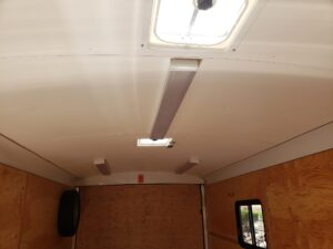 TNT 8.5x16 V-Nose SPCL. - View standing in front of ceiling liner, lights & vents