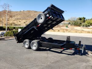 Snake River 7x14 Dump 2ft/SG - Passenger side front 3/4 view bed dumped