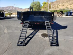 Snake River 7x12 Dump 2ft/14 - Rear view bed down ramps deployed