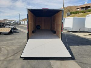 Big10 8x24 V-Nose 12/9.9K - Looking into rear of trailer and ramp door