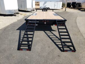 Snake River 20ft Deck Over - Rear view ramps deployed