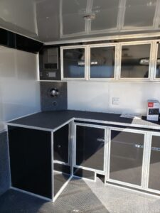 Another look cabinets, work bench and stereo