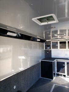Shows Silver Frost walls, ceiling, cabinets and overhead lights