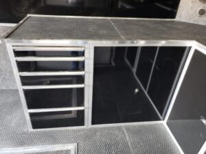 Wells Cargo MotorTrac - Closeup of tool box drawers and work bench