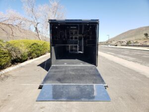 Wells Cargo MotorTrac - Looking into trailer and ramp from outside