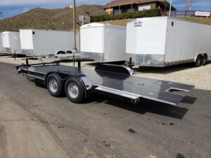 Eliminator 10K Tilt Hauler - Driver side rear 3/4 view bed down