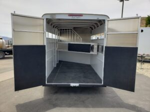 Looking into stall area from outside trailer