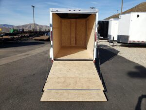 Wells Cargo RFV Ramp - Looking into rear interior and ramp door from outside