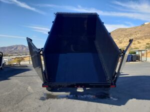 Snake River 7x12 Dump 4ft - Rear view bed dumped and doors open