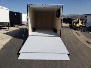 Wells Cargo 8.5x20 RFV7K Blk - Looking into rear interior from outside