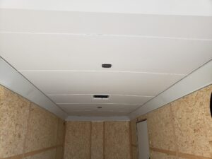 Wells Cargo 8.5x20 RFV7K Blk - Looking through rear at lined ceiling