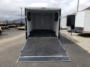 TNT 8.5x18T V-Nose Sp.Ord. - Looking into rear of trailer and ramp door