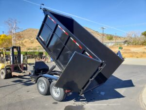 Five Star 5x10 10K Dump4ft - Driver side rear 3/4 view bed dumped