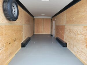 TNT 8.5x24 XPRS V-NoseDLX - View of pained floor, ceiling liner & spare