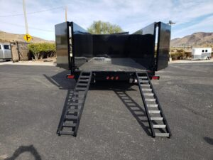 Snake River 7x16 Dump 4ft - Rear view bed down & ramps deployed